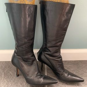 Jimmy Choo Black Leather Boots Size 37.5